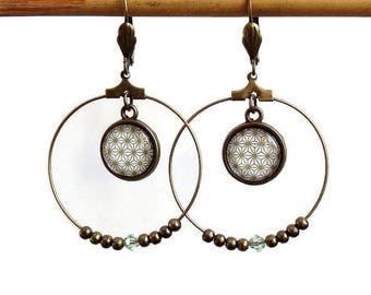 "Creole ethnic boho chic bohemian earrings ""khaki minimalist graphic"" pattern bronze cabochon beads, glass cabochons"