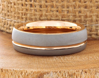 Rose Gold Wedding Band Ring 7mm 18K Two Tone Man Wedding Band Male Women Custom Laser Engraving Anniversary Handmade Grooved New Mens Ring