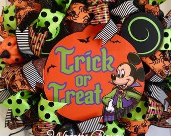 Disney Halloween Wreath Halloween Wreath Mickey Mouse Halloween Wreath Halloween Deco Mesh Wreaths