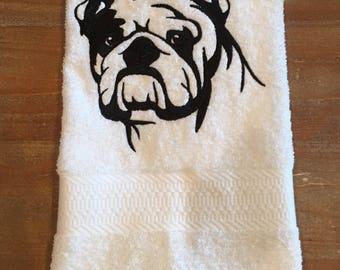 English Bulldog embroidered hand towel