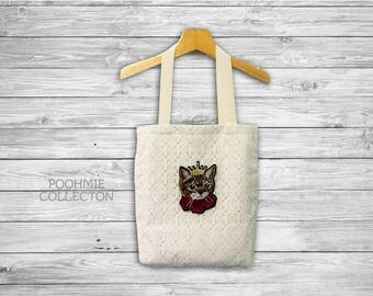 "White Lace Tote Bag with Cat Crown, Fabrics Tote Bag, Vintage Bag -Size 14 1/2""(W)x16 1/2""(H)"