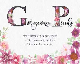 Watercolor design set in gorgeous pinks: hand painted premade clip art and individual elements; wedding clip art