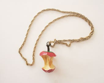 Vintage Red Apple Core Necklace - Long Chain Necklace