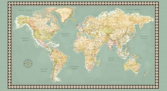 Meridian world map fabric panel 23 x 44 inch world map panel like this item gumiabroncs Gallery