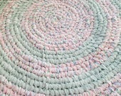 Soft Handmade Round Rag Rug - Light Pink, Light Blue, Mint Green and White Solids and Prints - Flannel