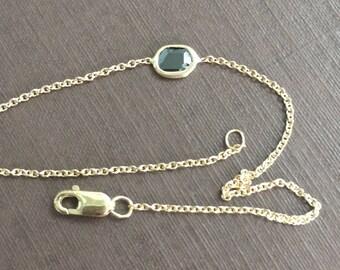 14k solid yellow gold and genuine black diamond slice bracelet, rose cut black diamond slice, rolo chain