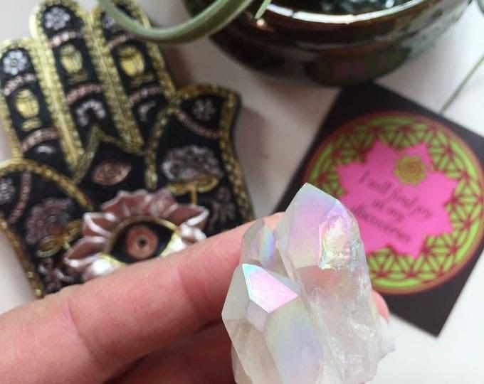 Small Rainbow Angel Aura Quartz Cluster | Spiritual Junkies | Reiki Love Infused | Titanium Electroplated | Healing Crystal | Gemstone