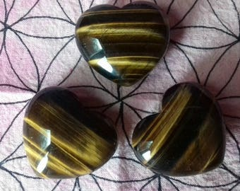 Energy Charged Tigers Eye Crystal Heart - Crystal Healing, Protection, Success, Personal Power, Creativity, Solar Plexus Chakra, Valentines