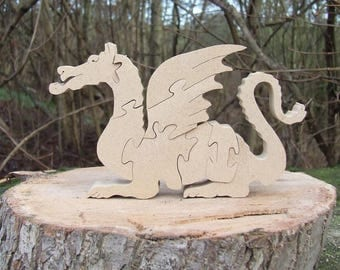 Dragon, Dragon jigsaw, Dragon ornament, Dragon gift, Dragon puzzle, wooden Dragon, mythical wooden gift, children's ornament. wooden animal