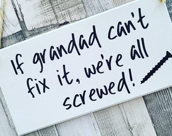 Grandad Sign, Grandad Plaque, Father's Day Gift For Grandad, DIY Enthusiast, Handmade Sign, Wall Decor, Gift For Him