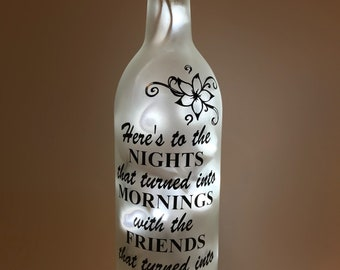 Here's to the Nights Wine Bottle Light