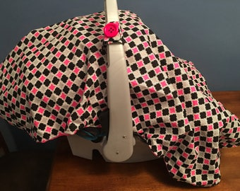 Pink/Black/Gray Car Seat Canopy