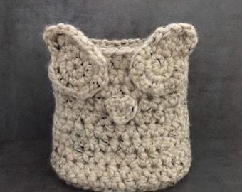 Owl Basket, Basket, Handmade Basket, Crochet Basket, Crochet Owl Basket, Decorative Basket, Storage Basket, Owl Storage Basket, Gift for Her