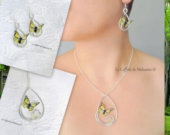 Black and Yellow Butterfly drop earrings and necklace