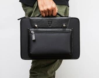 Laptop Bag Men Leather Laptop Bag Women Macbook Pro Case 13 Inch Laptop Briefcase Macbook Air 13 Case, Nylon Carrying Bag w/ Handle + Pocket