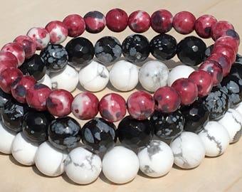 Three Mala Meditation,Obsidian Snowflake,Yoga Howlite Jewelry,Red Gems Jade,Bohemian Gypsy Prayers,Gift Mala Yoga Zen,Spiritual Trio Stones