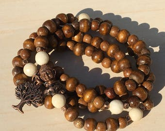 Wood Petrification,Tibetan Zen Mala 108,Mala Bead Wood 108,Pulsera Buda,Mala Tree of Life,Arbol de la Vida,Yoga Bracelet,Meditation Japa 108