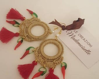Gold and fringe earrings