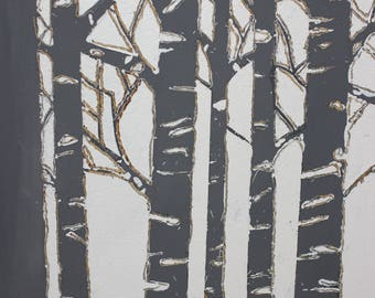 handcrafted wooden wall art,woodland, woods,modern wall art,navy/white/wood burning