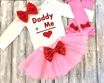Daddys Valentine outfit, baby girl Valentines outfit, love daddy valentines outfit, first valentines, 1st Valentines outfit, girls Valentine