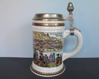 """Lidded Heidelberg Beer Stein, Acorn/ Old Heidelberg, River Scene, Rein Zinn Lid, Large Beer Mug, Tankard, West Germany. 6"""" H top of lid"""