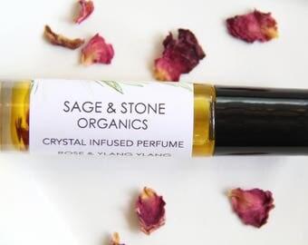 Rose & Ylang Ylang Essential Oil Perfume | Rose Quartz Infused | Natural Rose Perfume