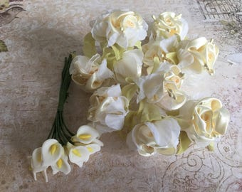 Lot of 22 Shabby chic satin and lily flowers