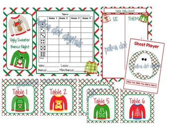 CHRISTMAS Ugly Sweater Complete Set Bunco Score Card BUY 2 Get 1 FREE  * Sheet Table Numbers Tally Sheet Printable Digtal File Download