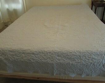 Vintage Textured Blue Bedspread Bed Cover