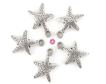 Star charm 10 x 12mm (276D) silver starfish