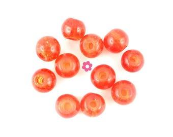 x 50 (02 c) 6mm orange Crackle Glass round beads