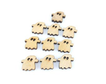 x 10 button ghost wood 19 x17mm (19(d))
