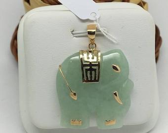 14K Yellow Gold Jade Elephant Pendant