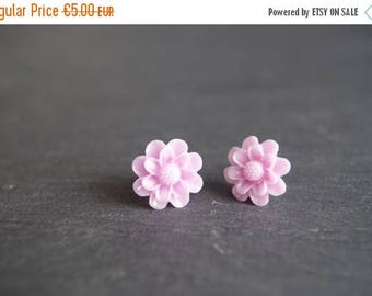 Sale Pink Flower Stud Earrings Light Pink Stud Earrings  Flower Earrings Pink Post Earrings Cabochon Earrings Children Earrings gift for her