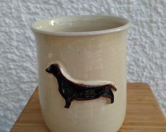 Dachshund stoneware mug handmade