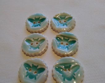 6 x  Porcelain Bee Buttons