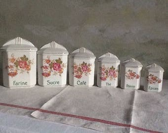 Rare set of 6 french vintage canisters. Storage jars with charming rose pattern. Pink and red roses  on white porcelain.1950's pots.