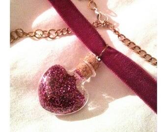 Heart Glitter bottle choker necklace Amortentia Harry Potter Potion Halloween CUSTOM COLOUR