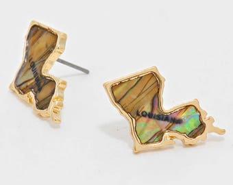 Louisiana State Map Abalone Stuf Earrings  - Gold Tone