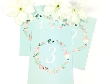 Beautiful blue floral wreath table numbers/names, 'Charlotte' Collection