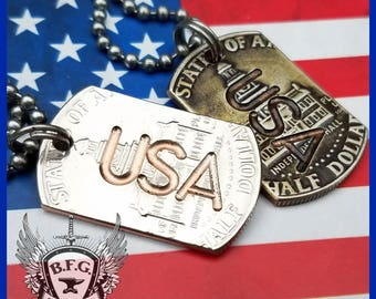 USA (United States Of America) Engraved  Mini Dog Tag made from a Kennedy Bicentennial Half Dollar W/ 30 inch Stainless steel Ball Chain