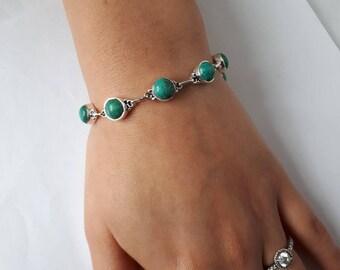 Turquoise bracelet; set in 92.5 sterling silver