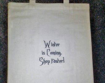 Game of Thrones, Winter is Coming, shopping bag, gift, GOT, House Stark, eco-friendly, Christmas gift, Birthday gift, TV show, bag for life