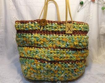 Sac cabas panier en coton crocheté et poignées cuir, jaune et vert