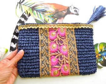 Navy blue evening bag - Blue straw clutch bag - Boho clutch bag -  Summer straw bag - Boho pouch - Straw clutch bag blue gold pink