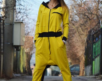 Women's Jumpsuit, Loose Yellow Jumpsuit, Harem Pants, Cotton Hooded Jumpsuit, Maxi Extravagant Overall by SSDfashion