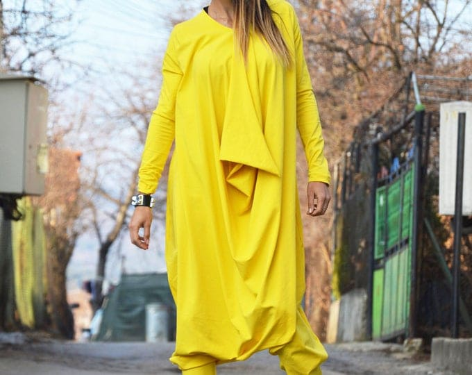 Yellow Cotton Jumpsuit With Long Zipper, Maxi Extravagant Jumpsuit, Long Sleeves Jumpsuit by SSDfashion