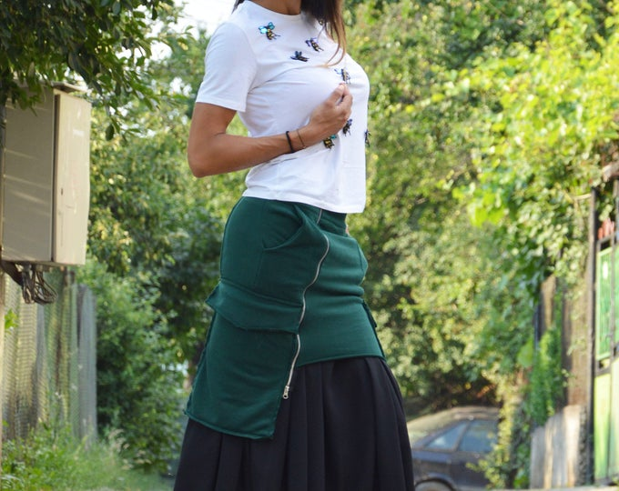 Asymmetric Green Cotton Skirt,  Extravagant Two Parts Skirt, Oversize Long Short Skirt, Summer Skirt by SSDfasion