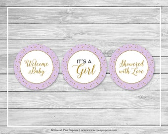 Purple and Gold Baby Shower Cupcake Toppers - Printable Baby Shower Cupcake Toppers - Purple and Gold Confetti Baby Shower - Toppers - SP148