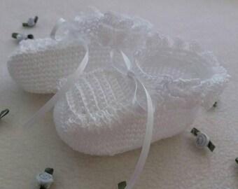 White Handmade Baby Crochet  Booties.